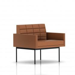 Fauteuil Tuxedo Herman Miller 1 place - avec accoudoirs - surpiqures - structure noire - Cuir MCL Luggage