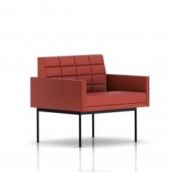 Fauteuil Tuxedo Herman Miller 1 place - avec accoudoirs - surpiqures - structure noire - Cuir MCL Rouge