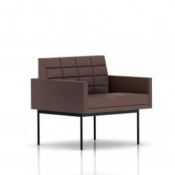 Fauteuil Tuxedo Herman Miller 1 place - avec accoudoirs - surpiqures - structure noire - Cuir MCL Brun