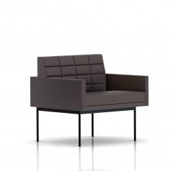 Fauteuil Tuxedo Herman Miller 1 place - avec accoudoirs - surpiqures - structure noire - Cuir MCL Espresso