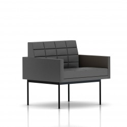Fauteuil Tuxedo Herman Miller 1 place - avec accoudoirs - surpiqures - structure noire - Cuir MCL Lava