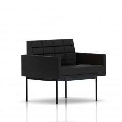 Fauteuil Tuxedo Herman Miller 1 place - avec accoudoirs - surpiqures - structure noire - Cuir MCL Noir