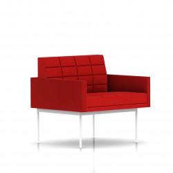 Fauteuil Tuxedo Herman Miller 1 place - avec accoudoirs - surpiqures - structure blanche - Tissu Ottoman Rouge