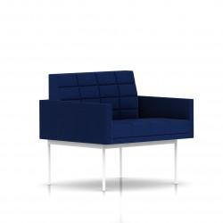 Fauteuil Tuxedo Herman Miller 1 place - avec accoudoirs - surpiqures - structure blanche - Tissu Ottoman Bleu