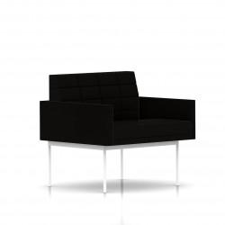 Fauteuil Tuxedo Herman Miller 1 place - avec accoudoirs - surpiqures - structure blanche - Tissu Ottoman Noir