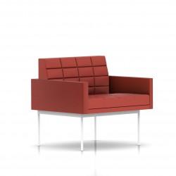 Fauteuil Tuxedo Herman Miller 1 place - avec accoudoirs - surpiqures - structure blanche - Cuir MCL Rouge