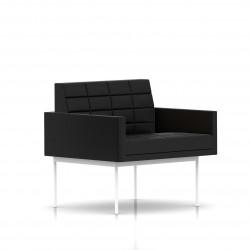 Fauteuil Tuxedo Herman Miller 1 place - avec accoudoirs - surpiqures - structure blanche - Cuir MCL Noir