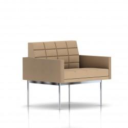 Fauteuil Tuxedo Herman Miller 1 place - avec accoudoirs - surpiqures - structure chromée - Tissu Ottoman Camel