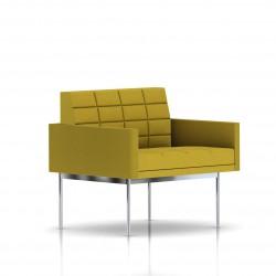 Fauteuil Tuxedo Herman Miller 1 place - avec accoudoirs - surpiqures - structure chromée - Tissu Ottoman Citron