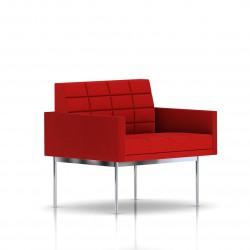 Fauteuil Tuxedo Herman Miller 1 place - avec accoudoirs - surpiqures - structure chromée - Tissu Ottoman Rouge