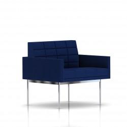 Fauteuil Tuxedo Herman Miller 1 place - avec accoudoirs - surpiqures - structure chromée - Tissu Ottoman Bleu
