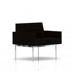 Fauteuil Tuxedo Herman Miller 1 place - avec accoudoirs - surpiqures - structure chromée - Tissu Ottoman Noir