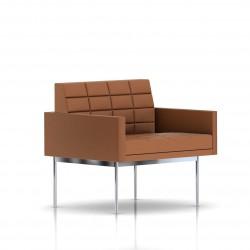 Fauteuil Tuxedo Herman Miller 1 place - avec accoudoirs - surpiqures - structure chromée - Cuir MCL Luggage
