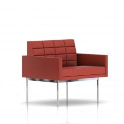 Fauteuil Tuxedo Herman Miller 1 place - avec accoudoirs - surpiqures - structure chromée - Cuir MCL Rouge
