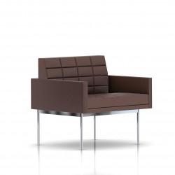 Fauteuil Tuxedo Herman Miller 1 place - avec accoudoirs - surpiqures - structure chromée - Cuir MCL Brun