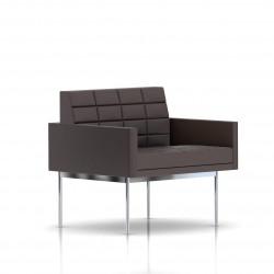 Fauteuil Tuxedo Herman Miller 1 place - avec accoudoirs - surpiqures - structure chromée - Cuir MCL Espresso