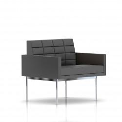 Fauteuil Tuxedo Herman Miller 1 place - avec accoudoirs - surpiqures - structure chromée - Cuir MCL Lava