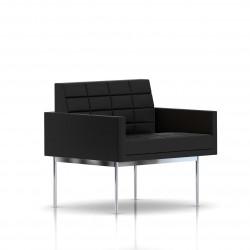 Fauteuil Tuxedo Herman Miller 1 place - avec accoudoirs - surpiqures - structure chromée - Cuir MCL Noir