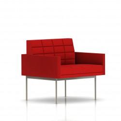 Fauteuil Tuxedo Herman Miller 1 place - avec accoudoirs - surpiqures - structure satin chrome - Tissu Ottoman Rouge