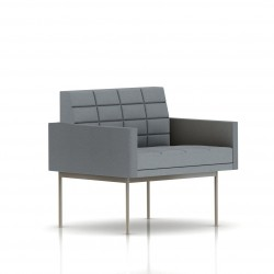Fauteuil Tuxedo Herman Miller 1 place - avec accoudoirs - surpiqures - structure satin chrome - Tissu Ottoman Oxford