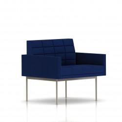 Fauteuil Tuxedo Herman Miller 1 place - avec accoudoirs - surpiqures - structure satin chrome - Tissu Ottoman Bleu