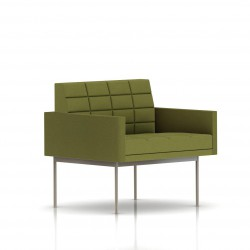 Fauteuil Tuxedo Herman Miller 1 place - avec accoudoirs - surpiqures - structure satin chrome - Tissu Ottoman Willow