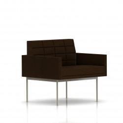 Fauteuil Tuxedo Herman Miller 1 place - avec accoudoirs - surpiqures - structure satin chrome - Tissu Ottoman Java