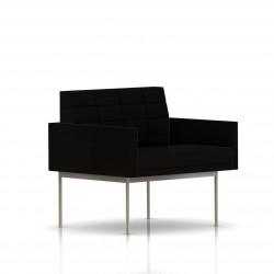 Fauteuil Tuxedo Herman Miller 1 place - avec accoudoirs - surpiqures - structure satin chrome - Tissu Ottoman Noir