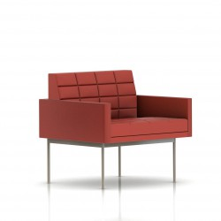 Fauteuil Tuxedo Herman Miller 1 place - avec accoudoirs - surpiqures - structure satin chrome - Cuir MCL Rouge