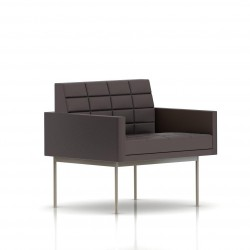 Fauteuil Tuxedo Herman Miller 1 place - avec accoudoirs - surpiqures - structure satin chrome - Cuir MCL Espresso