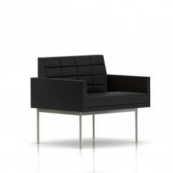 Fauteuil Tuxedo Herman Miller 1 place - avec accoudoirs - surpiqures - structure satin chrome - Cuir MCL Noir