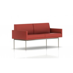 Canapé Tuxedo Herman Miller 2 places - avec accoudoirs - structure satin chrome - Cuir MCL Rouge