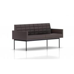 Canapé Tuxedo Herman Miller 2 places - avec accoudoirs - surpiqures - structure noire - Cuir MCL Espresso