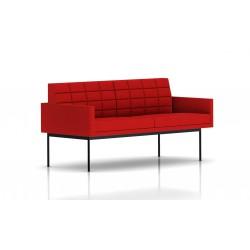Canapé Tuxedo Herman Miller 2 places - avec accoudoirs - surpiqures - structure noire - Tissu Ottoman Rouge