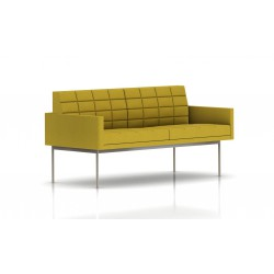 Canapé Tuxedo Herman Miller 2 places - avec accoudoirs - surpiqures - structure satin chrome - Tissu Ottoman Citron