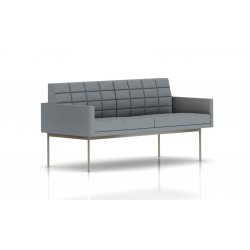 Canapé Tuxedo Herman Miller 2 places - avec accoudoirs - surpiqures - structure satin chrome - Tissu Ottoman Oxford