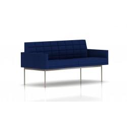 Canapé Tuxedo Herman Miller 2 places - avec accoudoirs - surpiqures - structure satin chrome - Tissu Ottoman Bleu