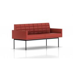 Canapé Tuxedo Herman Miller 2 places - avec accoudoirs - surpiqures - structure noire - Cuir MCL Rouge