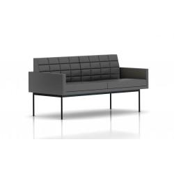 Canapé Tuxedo Herman Miller 2 places - avec accoudoirs - surpiqures - structure noire - Cuir MCL Lava