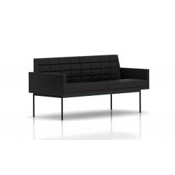 Canapé Tuxedo Herman Miller 2 places - avec accoudoirs - surpiqures - structure noire - Cuir MCL Noir