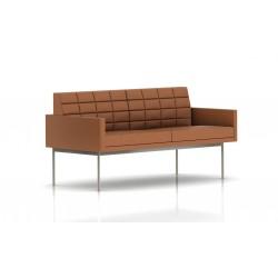 Canapé Tuxedo Herman Miller 2 places - avec accoudoirs - surpiqures - structure satin chrome - Cuir MCL Luggage
