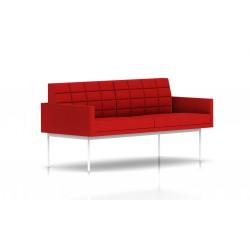 Canapé Tuxedo Herman Miller 2 places - avec accoudoirs - surpiqures - structure blanche - Tissu Ottoman Rouge
