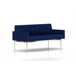 Canapé Tuxedo Herman Miller 2 places - avec accoudoirs - surpiqures - structure chromée - Tissu Ottoman Bleu