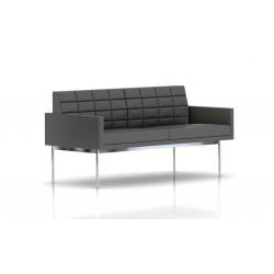 Canapé Tuxedo Herman Miller 2 places - avec accoudoirs - surpiqures - structure chromée - Cuir MCL Lava