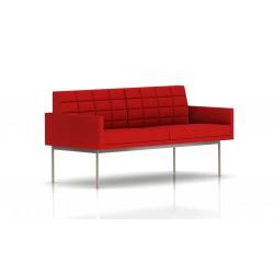 Canapé Tuxedo Herman Miller 2 places - avec accoudoirs - surpiqures - structure satin chrome - Tissu Ottoman Rouge