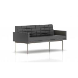 Canapé Tuxedo Herman Miller 2 places - avec accoudoirs - surpiqures - structure satin chrome - Cuir MCL Lava