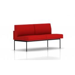 Canapé Tuxedo Herman Miller 2 places - sans accoudoir - structure noire - Tissu Ottoman Rouge