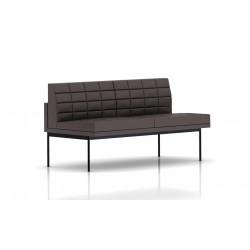 Canapé Tuxedo Herman Miller 2 places - sans accoudoir - surpiqures - structure noire - Cuir MCL Espresso