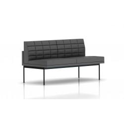 Canapé Tuxedo Herman Miller 2 places - sans accoudoir - surpiqures - structure noire - Cuir MCL Lava
