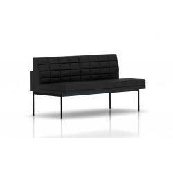 Canapé Tuxedo Herman Miller 2 places - sans accoudoir - surpiqures - structure noire - Cuir MCL Noir